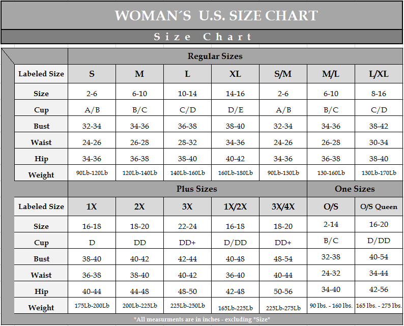 Escante clothing size charts